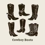 Las botas de vaquero siluetean la colección en estilo retro libre illustration