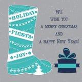 Las botas del invierno con la Navidad adornan vector Fotografía de archivo libre de regalías
