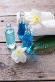 Las botellas con el aroma engrasan, las toallas y plumeria tropical de las flores Imágenes de archivo libres de regalías