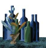 Las botellas de cristal están en el estante, libre illustration