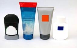 Las botellas de cuerpo de la belleza cuidan los artículos de tocador del cuarto de baño para los hombres Foto de archivo