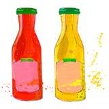 Las botellas de la salsa de tomate y de la mostaza con salpican Imagenes de archivo