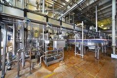 Las botellas de leche se mueven a través de tubería larga en fábrica Imagen de archivo libre de regalías