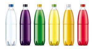 Las botellas para el jugo y otro beben Imágenes de archivo libres de regalías