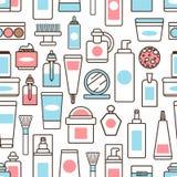 Las botellas y los tarros con bate y el modelo de las lociones stock de ilustración