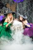 las brujas experimentadas lindas cocinan una poción en el pote, vapor son vierten Imágenes de archivo libres de regalías