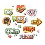 Las burbujas cómicas del discurso para diversas emociones y los efectos sonoros fijados para la etiqueta diseñan Burbujas del dis libre illustration