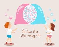Las burbujas de jabón del muchacho que soplan y de la muchacha aman el ejemplo del concepto Fotografía de archivo libre de regalías