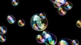 Las burbujas de jabón ennegrecen el lazo video relajante tranquilo del fondo del fondo 1080p ilustración del vector