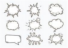 Las burbujas sanas cómicas vacías del discurso fijaron aislado en el ejemplo blanco del vector del fondo nubes con el lugar para  libre illustration