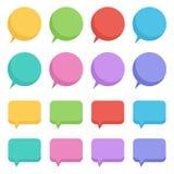 Las burbujas vacías del discurso del diseño plano colorido fijaron, colección en el fondo blanco Imagen de archivo