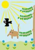 Las caídas de gato de un árbol Imágenes de archivo libres de regalías