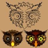 Las cabezas de búhos ilustración del vector