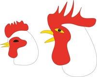 Las cabezas del gallo y de la gallina stock de ilustración