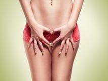 Las caderas y los brazos de las mujeres en la forma de un corazón Imágenes de archivo libres de regalías