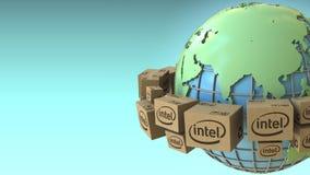 Las cajas con el logotipo de Intel en todo el mundo, Asia acentuaron Representación conceptual del editorial 3D ilustración del vector