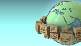 Las cajas con el logotipo de Intel en todo el mundo, Europa y África acentuaron Representación conceptual del editorial 3D libre illustration