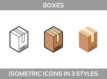 Las cajas de empaquetado del cartón isométrico fijaron en tres estilos con las muestras postales este lado para arriba Foto de archivo libre de regalías