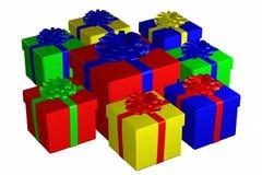 Las cajas de regalo ataron la cinta con un arco Imagen de archivo