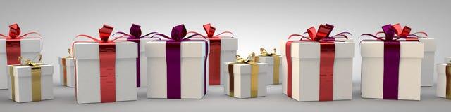 Las cajas de regalo con la cinta arquean la representación del ejemplo 3d Fotos de archivo libres de regalías