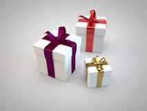 Las cajas de regalo con la cinta arquean la representación del ejemplo 3d Imágenes de archivo libres de regalías