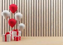 Las cajas de regalo con los globos festival y celebración en 3D rinden imagen Imágenes de archivo libres de regalías