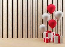 Las cajas de regalo con los globos rojos y blancos para el festival y la celebración en 3D rinden imagen Fotos de archivo