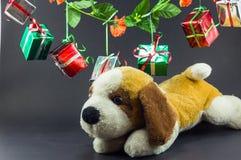Las cajas de regalo de la Navidad con el peluche refieren el fondo negro Imagen de archivo