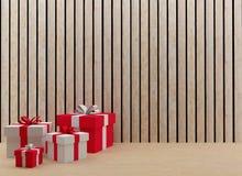 Las cajas de regalo interiores para el festival y la celebración en 3D rinden imagen Imagenes de archivo