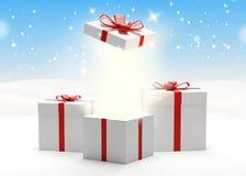 Las cajas de regalo presentan las cajas 3d-illustration con el arco y la cinta Foto de archivo