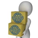 Las cajas del envío express muestran rápidamente el envío Imagenes de archivo