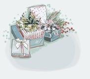 Las cajas presentan a fondo azul de tarjeta de Navidad del vector color suave estilo en colores pastel de la pintura ilustración del vector