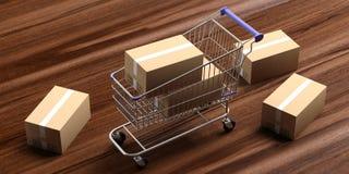 Las cajas se cerraron y un carro de la compra en fondo de madera ilustración 3D ilustración del vector