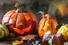 Las calabazas de Halloween Imágenes de archivo libres de regalías