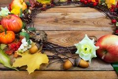 Las calabazas de la acción de gracias, snowberry, manzanas, hojas de arce enrruellan, c Imagen de archivo libre de regalías