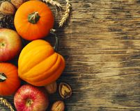 Las calabazas y las manzanas de otoño con caída se van en fondo de madera foto de archivo libre de regalías