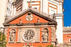 las Calatravas,马德里,西班牙教会看法  特写镜头 免版税图库摄影