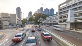 Las calles de Hong Kong ven el timelapse del autobús turístico de parte superior abierta durante viajar de la isla de Hong Kong almacen de video