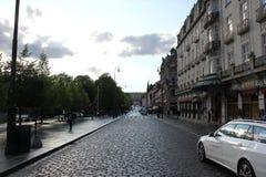 Las calles viejas en Oslo Imagenes de archivo