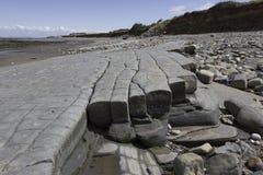 Las camas de la piedra jurásica de los lias en Doniford varan, Exmoor, Reino Unido imagen de archivo