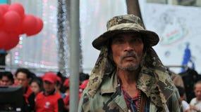 Las camisas rojas protestan en Bangkok central Foto de archivo