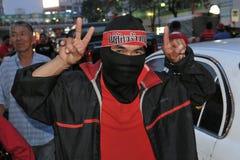 Las camisas rojas protestan en Bangkok central Fotografía de archivo libre de regalías