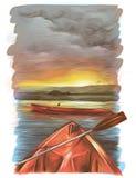 Las canoas flotan en el agua en la puesta del sol una son oblicuas el segundo son solamente visibles el frente ilustración del vector