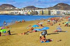 Las Canteras海滩在拉斯帕尔马斯,大加那利岛,西班牙 库存图片