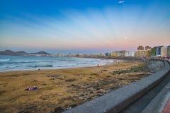 Las Canteras beach along the city of Las Palmas de Gran Canaria, Spain Stock Photos