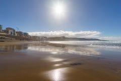 Las Canteras beach on sunny day, Las Palmas, Gran Canaria, Spain Royalty Free Stock Photos