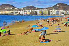 Las Canteras strand i Las Palmas, Gran Canaria, Spanien Fotografering för Bildbyråer