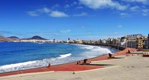 Las Canteras strand i Las Palmas, Gran Canaria, Spanien Royaltyfria Foton