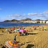 Las Canteras strand i Las Palmas, Gran Canaria, Spanien Arkivfoton