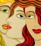 Las caras de las mujeres Foto de archivo libre de regalías